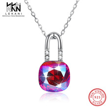 цены LEKANI Crystals From Swarovski Pendant Necklace For Women Lock Shaped Big Rhinestone Pendants 925 Silver Engagement Jewelry Gift