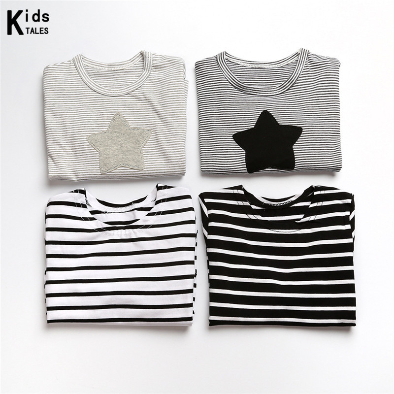 RW-110 Fashion 2017 spring autumn little girls clothes with long sleeves and stripe print with star cotton t-shirts tops tee