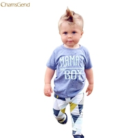 2017 Children Clothing Newborn Infant Baby Boy Letter T shirt Tops Geometric Pants Outfits Clothes Set oct Girls Clothes Print