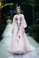 Jusere Beijing Fashion Show High Neckline Soft Tulle Pink Evening Party Dress A lin