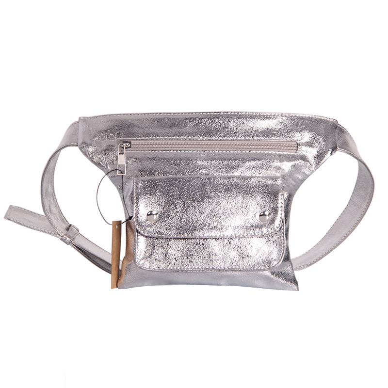 Fashion Women Bling Leather Waist Pack Silver Mochila Cintura Belt Waist Bag Female Pouch PU Casual Fanny Pack Bag Bolsa