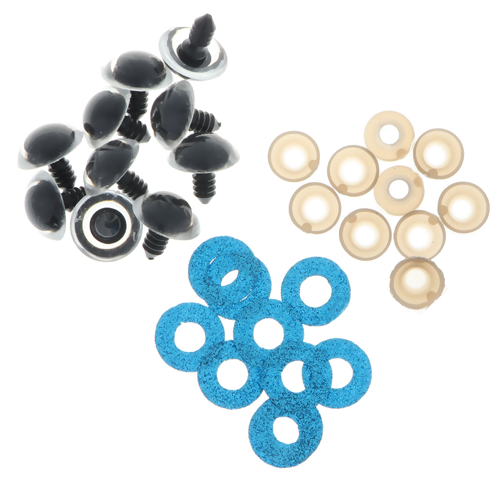 100pcs 10 colors Plastic Safety Toy Eyes Glitter Nonwovens Washer 16mm