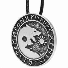 1pcs 4008 Ying Yang Wolf Pendant Necklace Norse Vikings Runes Amulet Necklaces Pendants Gifts Men Charm Rope Chain Lead Free