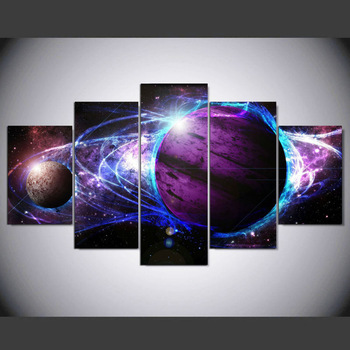 5 piece Canvas Painting  HD Printed Cosmos Galaxy Star Energy Art Home Decor for Living Room HD Printed