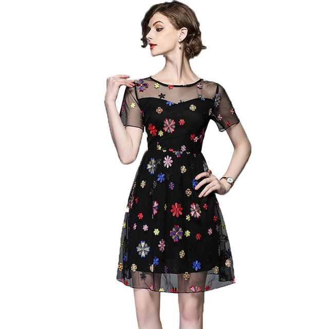 09adc036ff6 Black Flower Lace Dress Women Elegant Summer Floral Runway Aesthetic  Embroidery Ladies Dresses Party Vestido Woman
