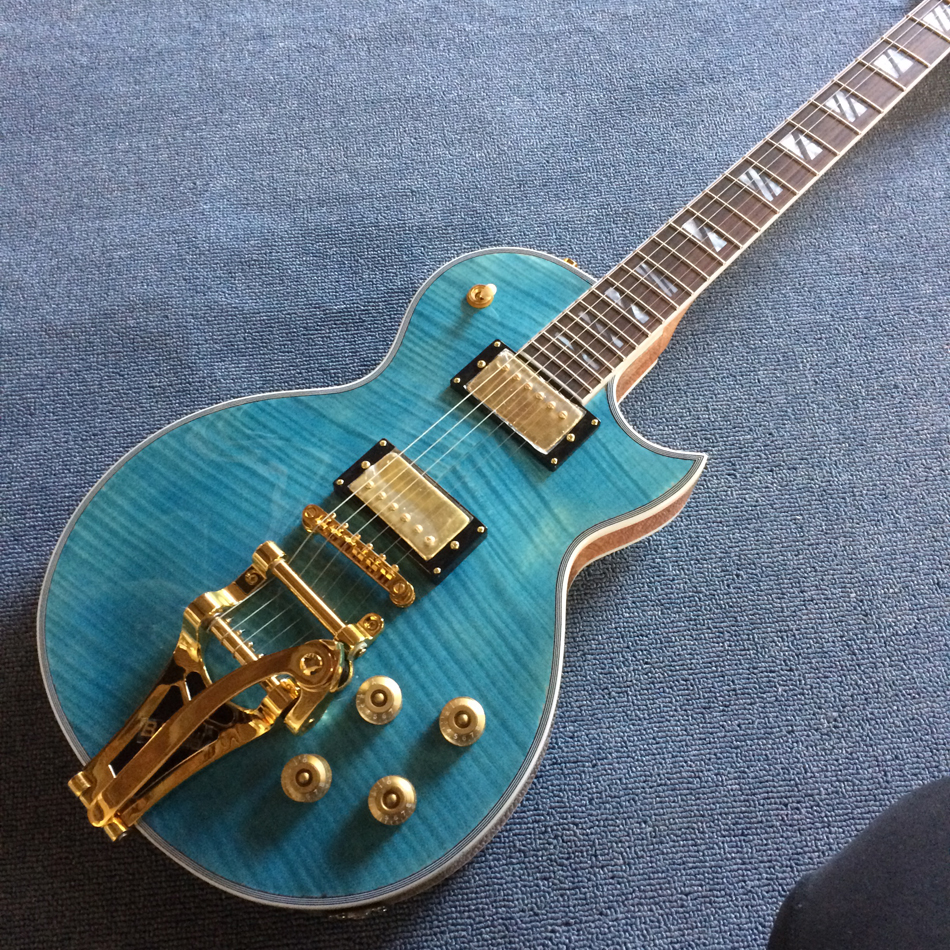 New high quality Custom LP electric guitar,Flame Maple Top & Back ,Tremolo system,Blue electric guitar, free shipping стоимость