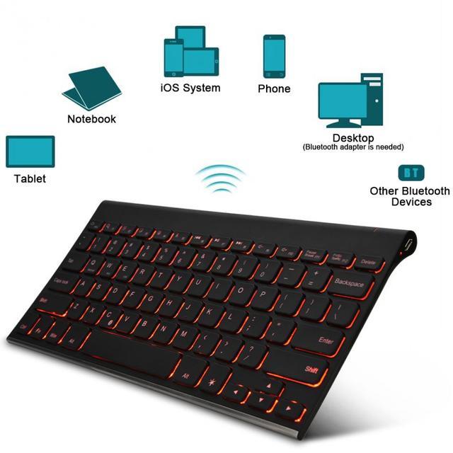 hb086b bluetooth draadloze toetsenbord verlicht oplaadbare toetsenborden voor ipad air 2pro 97 mini slim