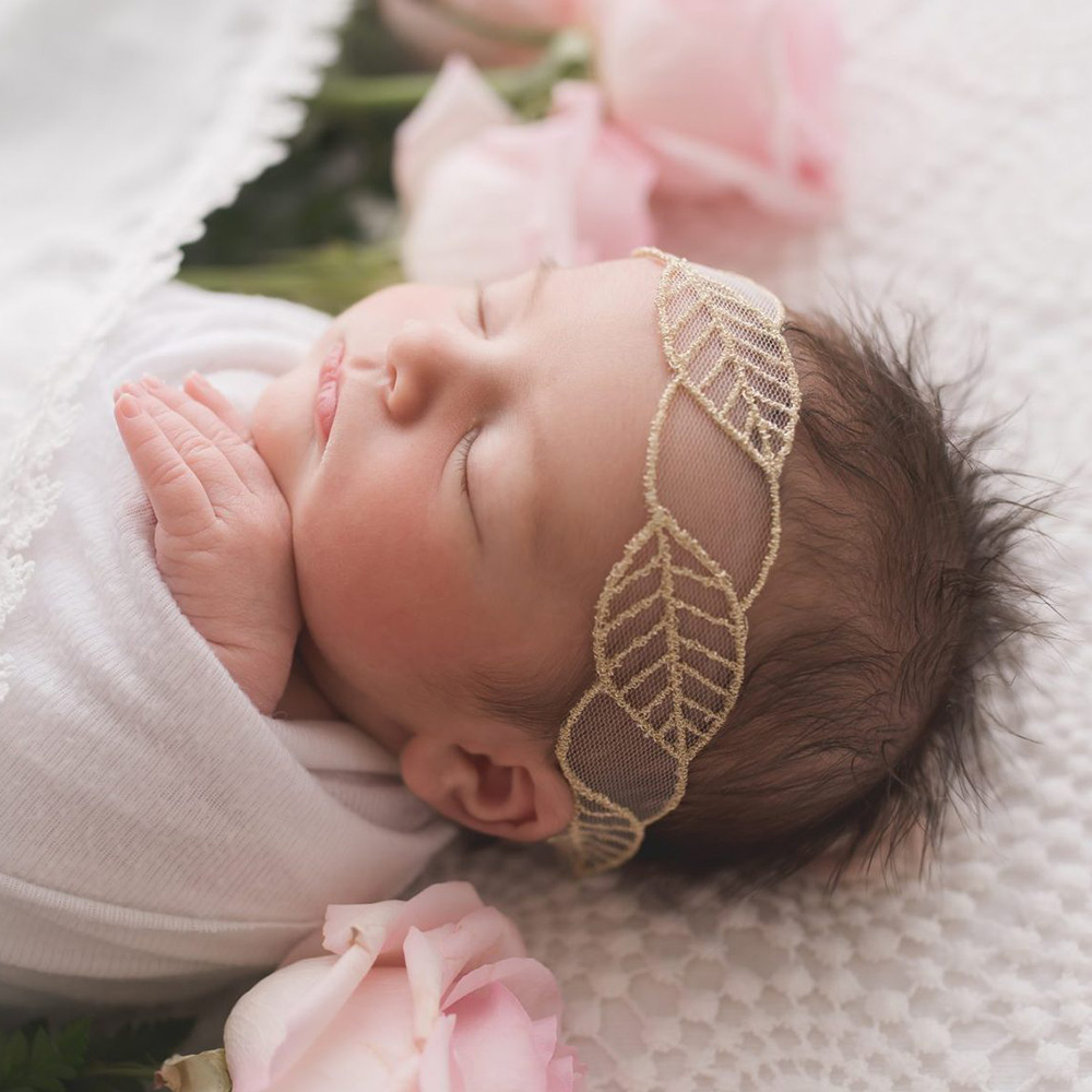 2019 Newborn Leaf Lace Headband Handmade Embroidery Lace Soft Elastic Hair Bands For Baby Girls Hair Accessories Photo Props