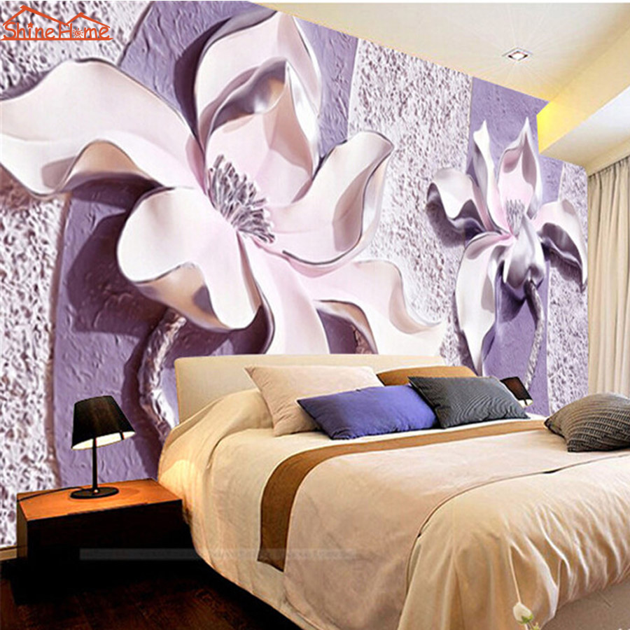 Customize 3D Relief Purple Magnolia Wallpaper for Wall 3d Bedroom TV Background Wall Paper Living Room Non-woven Mural Rolls