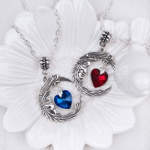 DoreenBeads Handmade Antique Silver Engraved Pattern Moon Heart Pendant Necklace Silver color Lobster Woman Jewelry Red Blue