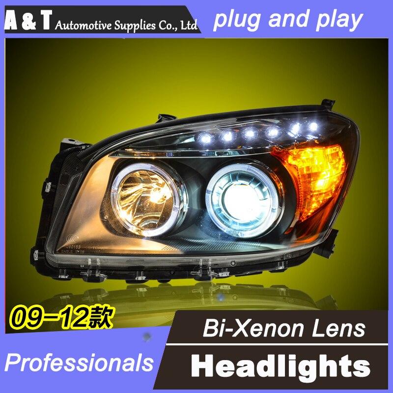 car styling For Toyota RAV4headlights U angel eyes DRL 2009-2012 For Toyota RAV4 LED light bar DRL Q5 bi xenon lens h7 xenon