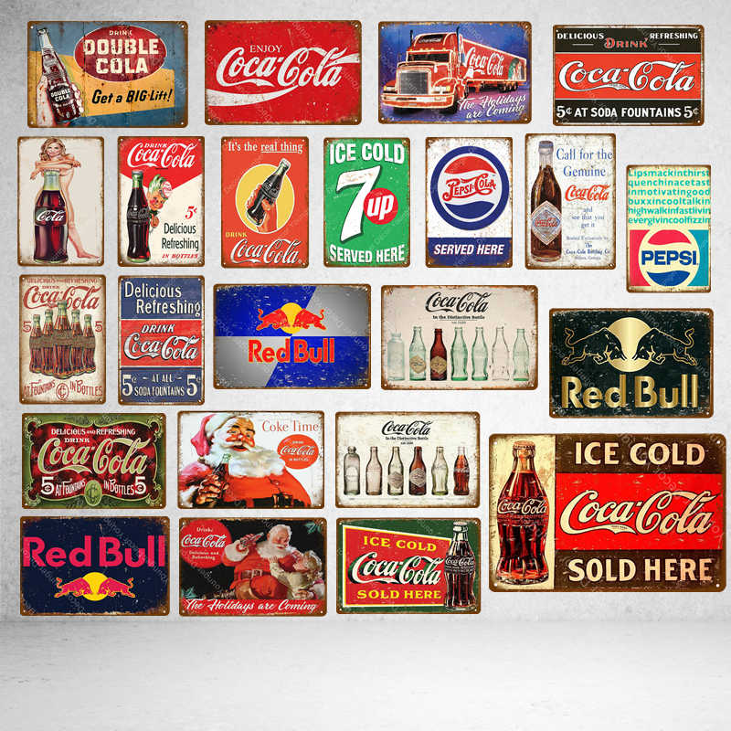 Ice Cold Drinks Decoration Coke Cola Metal Tin Signs Classic Poster Vintage Plaque Pub Bar Club Cafe Shop Home Wall Decor