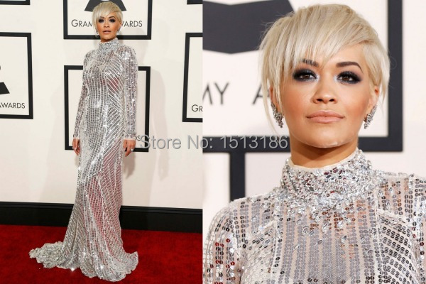 57th Grammy Shining Red Carpet Celebrity Dresses Sequined High Neck Long Sleeves Floor-length Mermaid Evening Dresses XY953