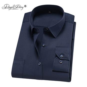 DAVYDAISY 2019 جديد وصول الرجال قميص بأكمام طويلة الذكور تمتد قمصان الأزياء الصلبة العمل قميص رسمي للأعمال العلامة التجارية الملابس DS264