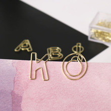 TUTU 10pcs/box letter Shape gold Paper Clips Kawaii Stationery letter Binder Clips Photos Tickets Notes Letter Paper Clip H0280 letter