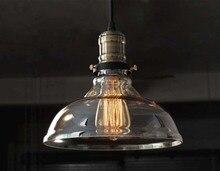 Старинные подвесные светильники железа белое стекло висит колокол подвеска лампа E27 110 В 220 В для столовой домашнего декора планетарий HM21
