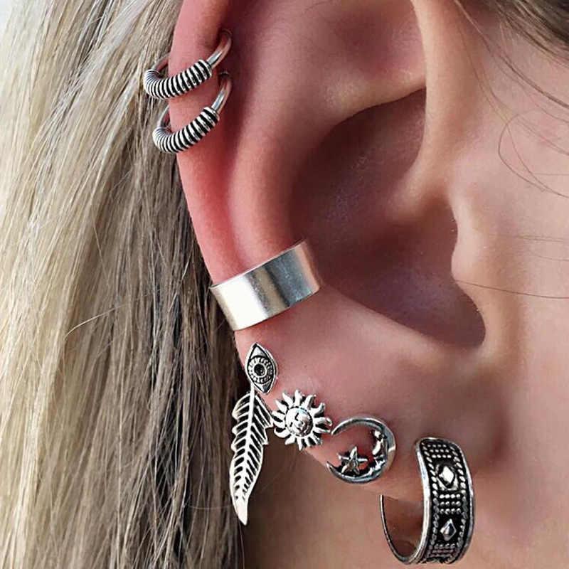 Crazy Feng Hot Sell 7pcs Boho Earrings Set Feather Star Moon Tibetan Silver Stud Earrings 2017 New Women Men Cilp Cuff Earring