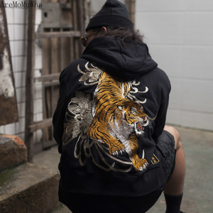 Image 5 - AreMoMuWha Original Juling Bamboo Forest Tiger Embroidered Mens Hooded Plush Warm Sweatshirt Chinese Style Streetwear QX1097