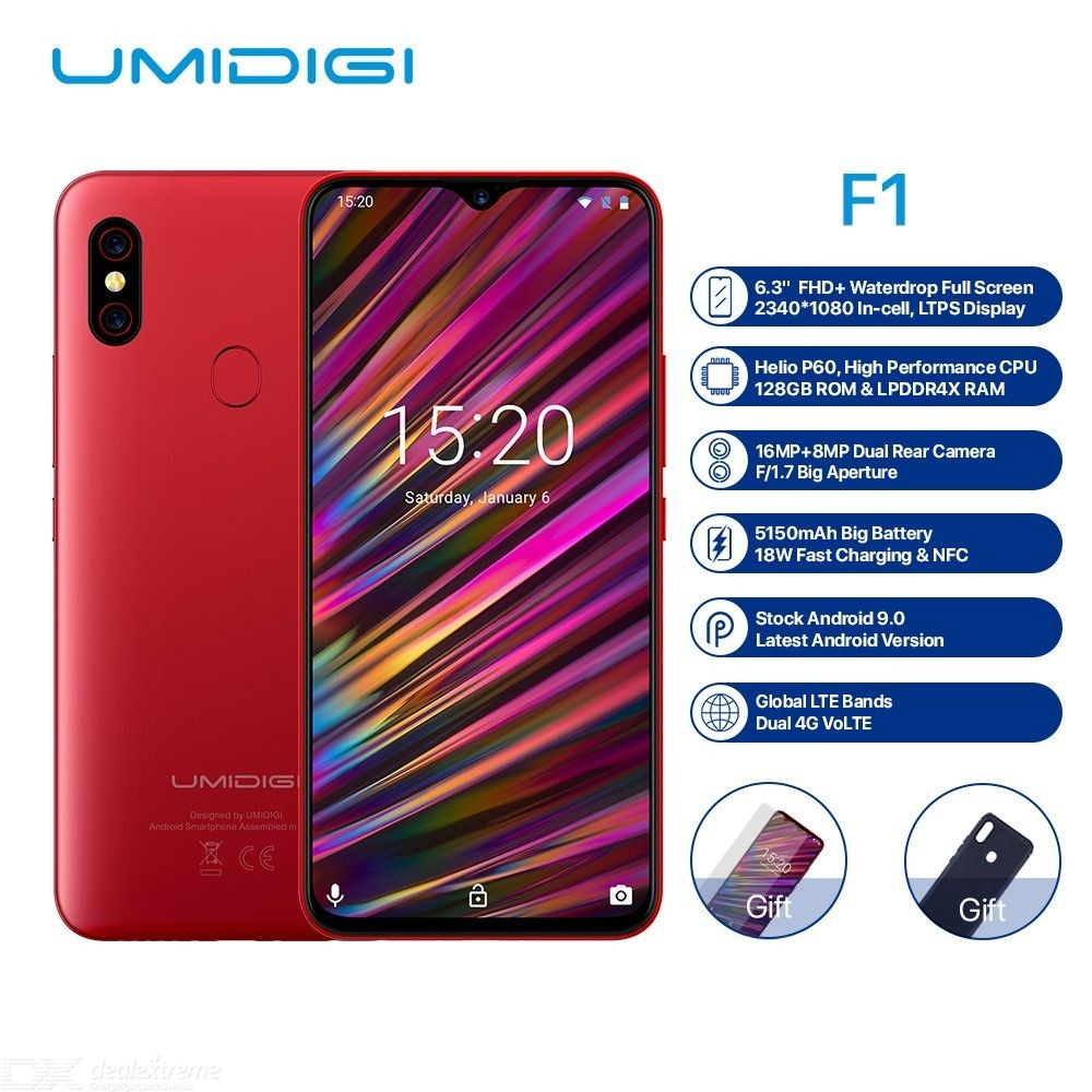 """UMIDIGI F1 Android 9.0 6.3"""" FHD+128GB ROM 4GB RAM Helio P60 Smartphone 5150mah Battery 18W Fast Charge 16MP+8MP Mobile Phones"""