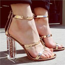 HiHopGirls Women Sandals Open Toe Shoes Ankle Strap Gold Sandals Crystal Transparent Clear Block Thick High Heel Woman stilettos