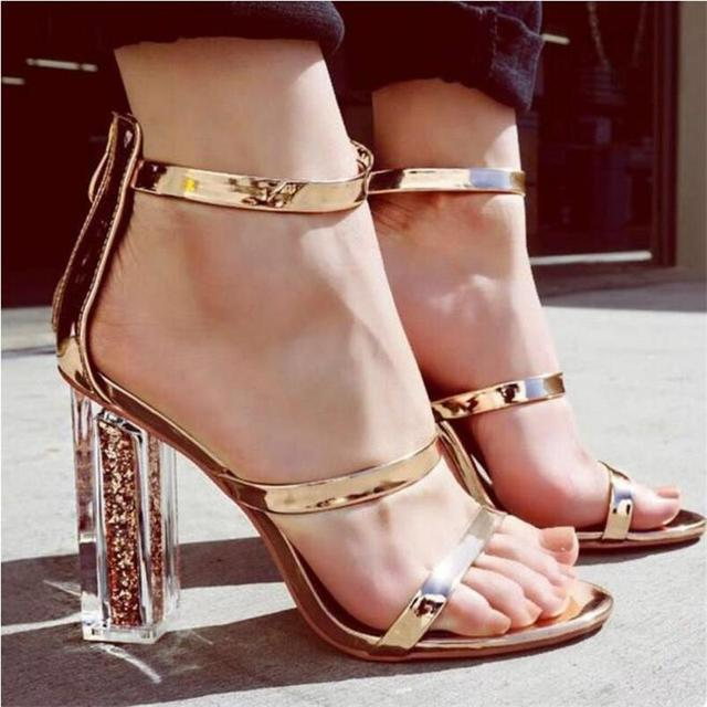 e7f84eae32 HiHopGirls Women Sandals Open Toe Shoes Ankle Strap Gold Sandals Crystal Transparent  Clear Block Thick High Heel Woman Stilettos