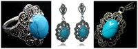 NEW Vintage Blue Turquoises 925 Sterling Silver Marcasite Ring 7 10 Pendant And Earrings Sets