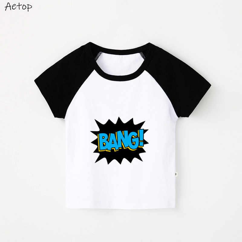 Musim Panas Kartun Lucu 100% Cotton Slim T-shirt Tops Lengan Pendek Pakaian Olahraga Atasan Katun Tee Tshirts Anak Laki-laki, B066