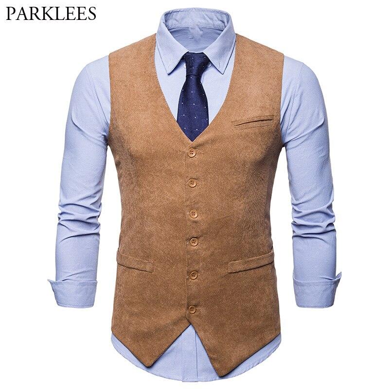 Men's Corduroy Suit Vest Gilet Homme Costume 2018 Brand New Slim Fit Single Breasted Formal Business Wedding Tuxedo Vest Men 2XL