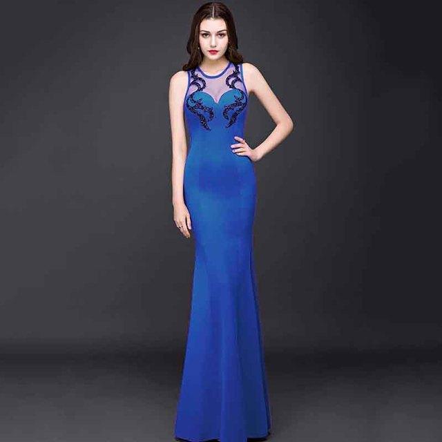 Corzzet Evening Dresses Sexy Beading Sapphire Cotton Long Mermaid