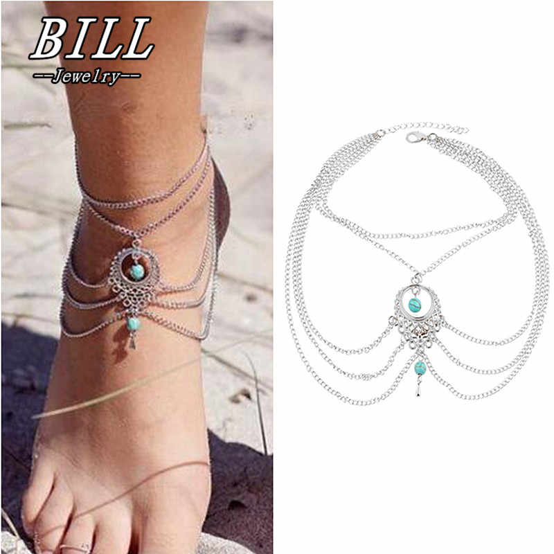 SL191 Boho Ethnic Beads Anklets Chic Tassel Foot Chain Anklet Bracelet Body Jewelry Anklets For Women 2018 HOT Selling