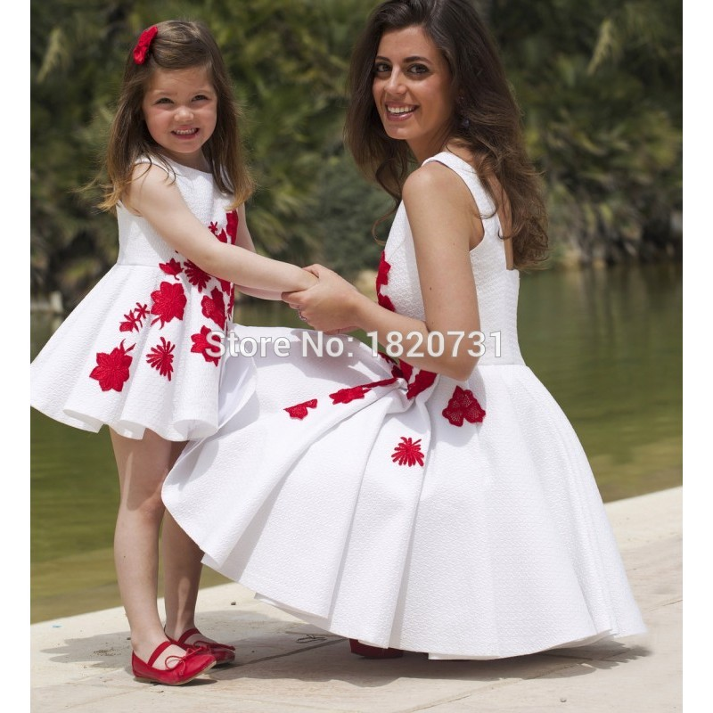 896be10b32d Elegant White Short Prom Dresses with Red Appliques A-line Tank Top Draped  Skirt Daughter Mother Matching Dress For Party 2019
