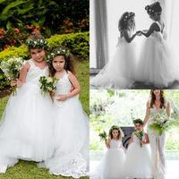 Lovely Flower Girls Dresses Puffy Tulle Back Bow First Communion Dresses Girls Pageant Gown Kids Birthday Dress White Ivory