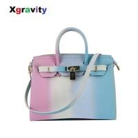 Xgravity Fashion Bags PVC Colorful Perfect Design Women Big Handbags Elegant Ladies Rainbow Dress Bags Candy Girl Handbag H106