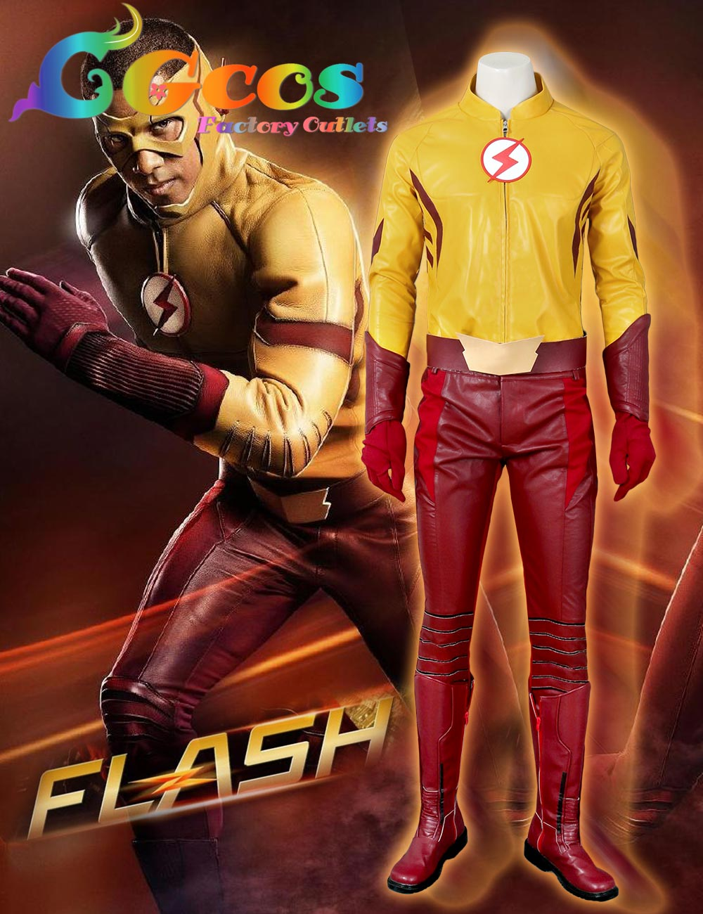 CGCOS CGCOS Hot Free Shipping Cos Cosplay Costume The Flash Season 3 Wally West Uniform with boots Halloween Christmas