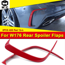 W176 A-Class Sport A45 Style Rear Bumper Splitters Spoiler 2-pcs ABS Red A180 A200 A250 Canard Lip 13-