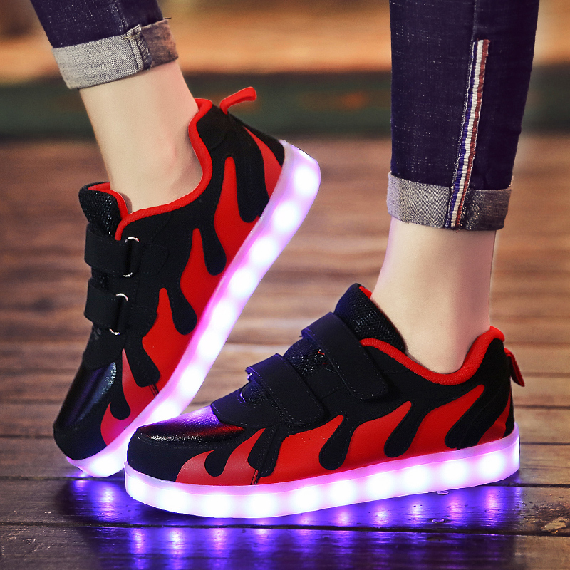 28-36 Size USB New Charging Basket Led Children Shoes With Light Up Kids Casual Boys&Girls Luminous Sneakers Glowing Shoe enfant