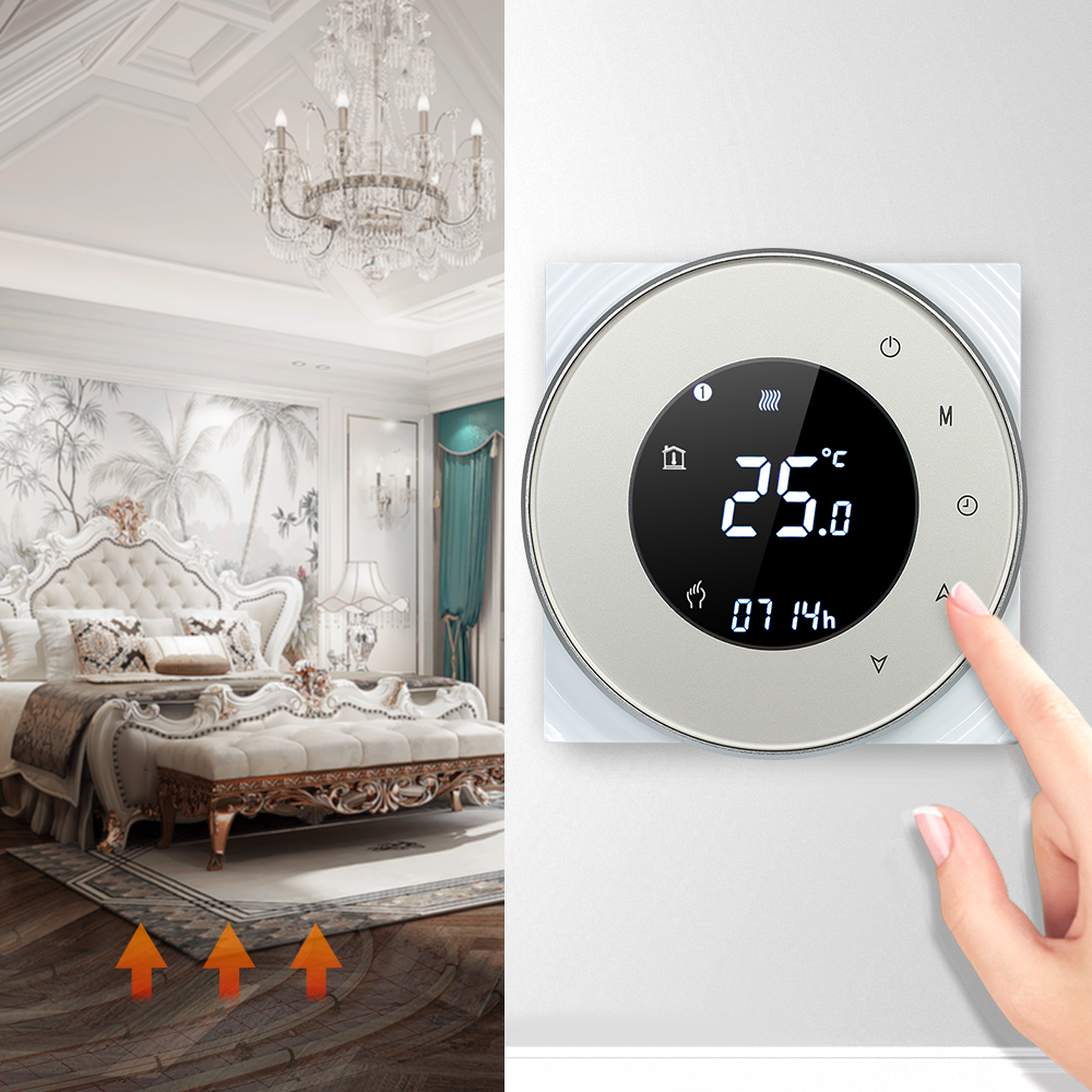 5A Programmeerbare WIFI Water Verwarming Thermostaat Controller Temperatuur Regulator Touchscreen LCD Draadloze Backlight Voice Control-in Air conditioner onderdelen van Huishoudelijk Apparatuur op  Groep 1