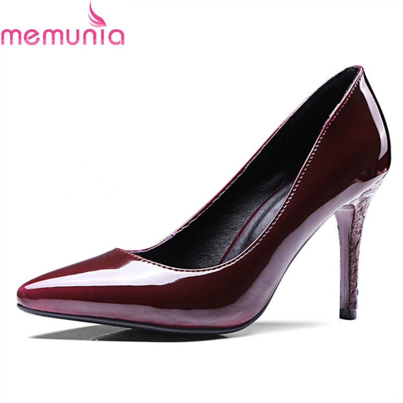 MEMUNIA 2018 big size 34-47 sexy high heel dress shoes high quality patent leather pointed toe shallow slip-on black women pumps shoes woman pumps patent leather thin high heel 12cm shallow slip on wedding shoes pointed toe summer fashion sexy size 11 fsj