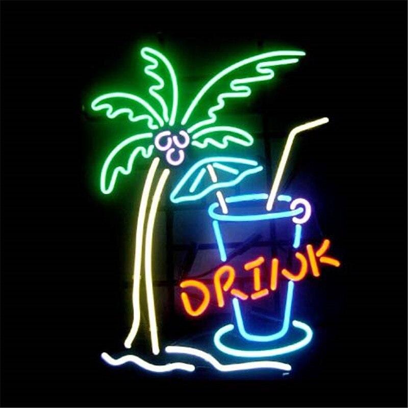 """17*14 """"trinken Baum Tasse Neon Zeichen Schild Real Glas Bier Bar Pub Billard Display Restaurant Shop Weihnachten Licht Zeichen"""