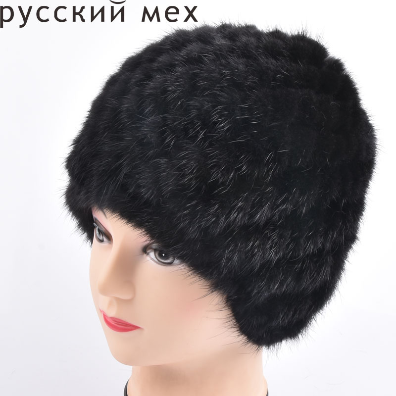 Women Russian Women Natural Fur cap Luxury knit mink fur hat beanie winter fur hat russian phrase book