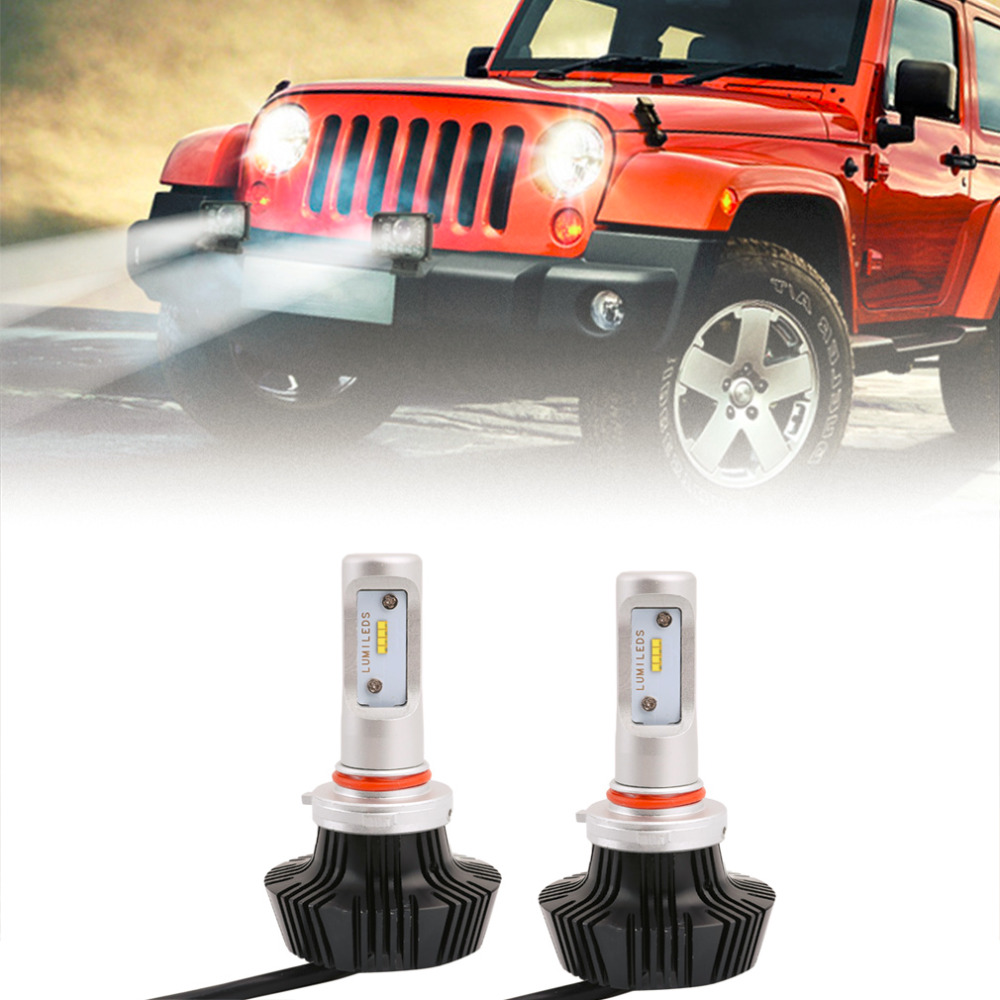 ФОТО 2 pieces/lot  C8 9005 Car LED Headlamp Bulb Head lights Replace Xenon Headlights 8000lm 9V-36V 80W 6000K White LED Light