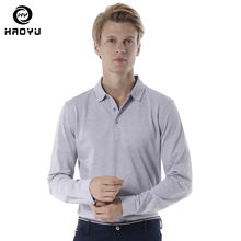 Polo Shirt Men 2019 Autumn Winter New Long Sleeve Henry Collar Solid Mens Shirts Brands Soft 5 Colors HAOYU 1801