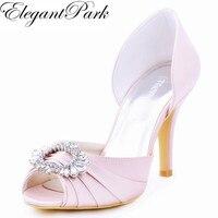 Woman Light Pink High Heel Shoes Bridesmaids Peep Toe Rhinestones Bride Satin Prom Evening Bridal Wedding
