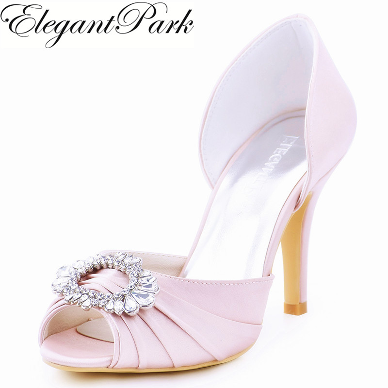 Woman Light Pink High Heel Shoes  Bridesmaids Peep Toe Rhinestones Bride Satin Prom Evening Bridal Wedding Pumps A2136 Green Red navy blue woman bridal wedding sandals med heel peep toe bride bridesmaid lady evening dress shoes white ivory pink red hp1623