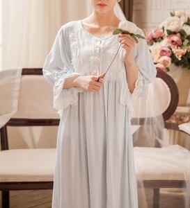 Image 2 - חדש כתנות הלילה ארוך שמלות נשים הלבשת גבירותיי ארוך כתונת לילה הלבשת אלגנטית קרסול אורך שמלת נסיכת L שמלת 3 צבע