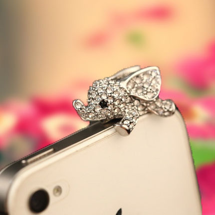 The New Full Rhinestone Flying Elephant Phone Dust Plug Cute