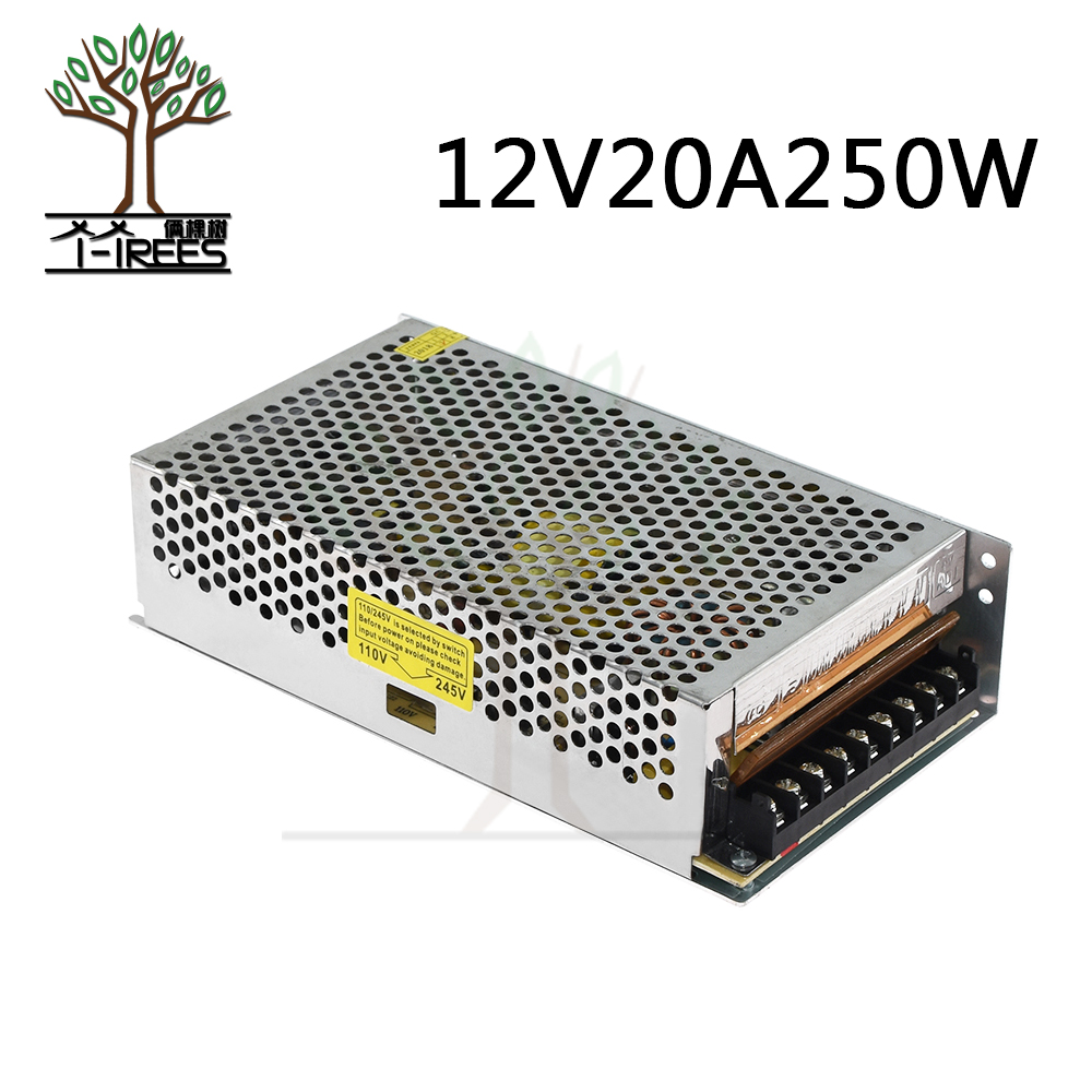 250W 12V 20A switching power supply Driver for LED Strip AC 100-240V Input to DC 12V switching power supply 3d printer parts 2015new 180w 12v 15a switching power supply driver for led strip ac 100 240v input to dc 12v free shipping