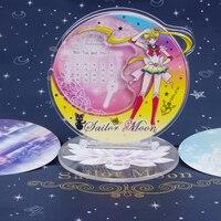Japan Anime Sailor Moon Tsukino Usagi Cosplay Cartoon Acrylic 2019 Calendar Stand Figure+Base Model Plate Phone Holder Art Decor