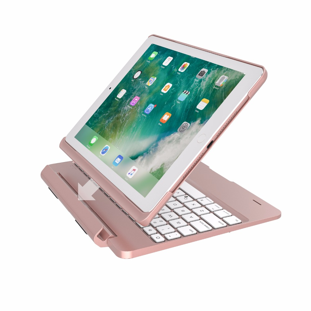 New 2017 for iPad 9.7 7 Colors Backlit Light Wireless Bluetooth Keyboard Case Cover for  ...