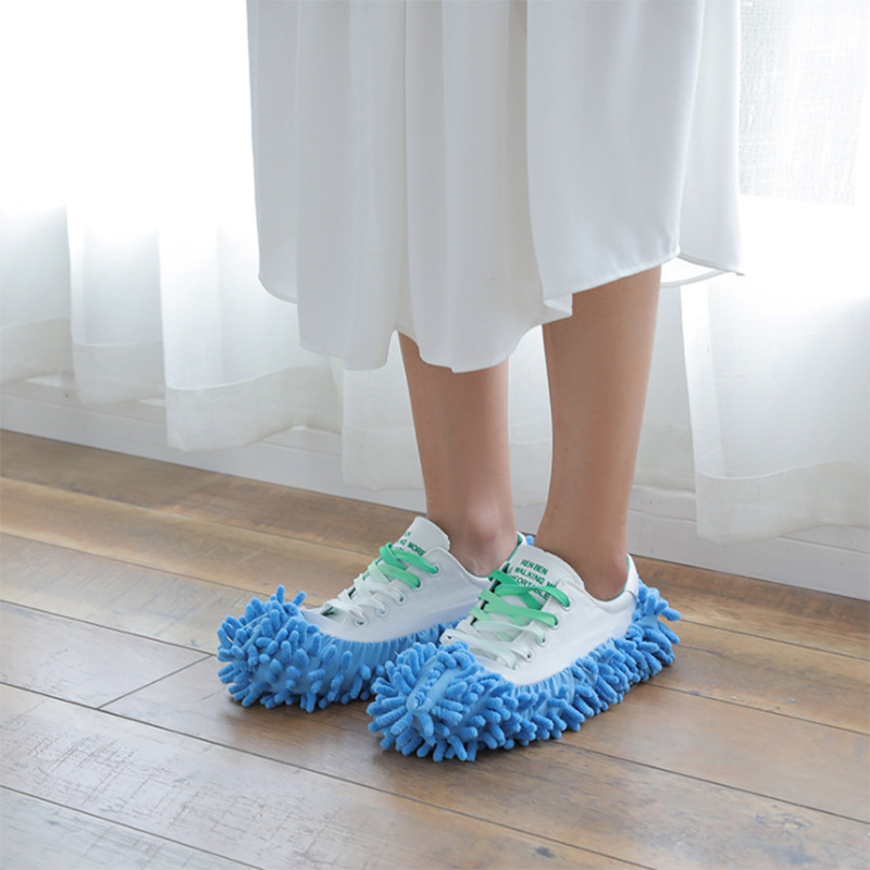1Pcs Shoes Covers Mop Slipper Lazy House Floor Polishing Cleaning Easy Foot Sock Shoe Cover Mopping Lazy Shoe Cover Blue Purple (8)